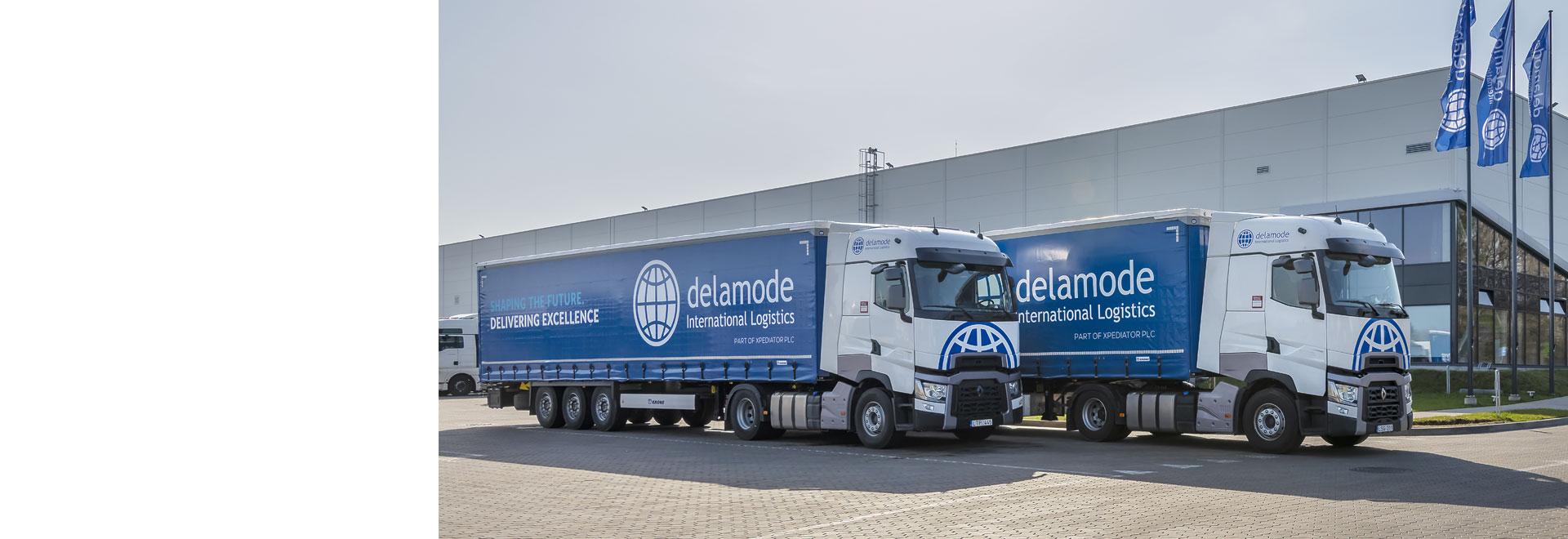 Delamode trucks outside warehouse
