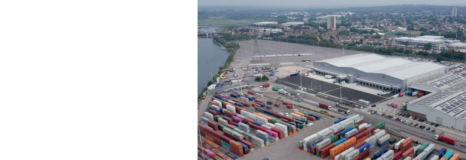 Aerial view of Southampton port warehouse